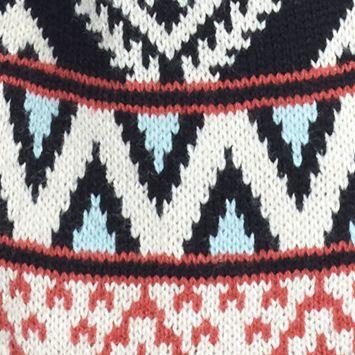 Juniors: Cardigan Sale: Black/Oatmeal/Red Combo Pink Rose Aztec Border Print Flyaway Cardigan