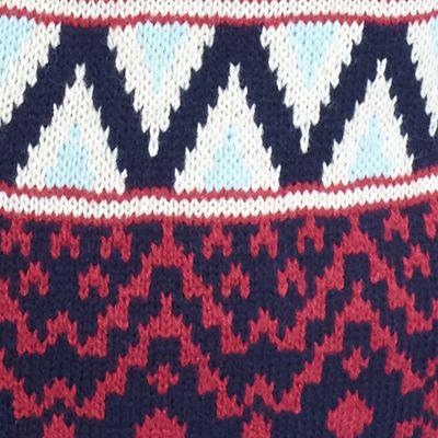 Juniors: Cardigan Sale: Oatmeal/Tapestry/Pomegranate Combo Pink Rose Aztec Border Print Flyaway Cardigan