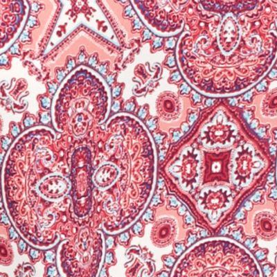 Pink Rose Juniors Sale: Blue Peach Pink Rose Three-Quarter Sleeve Printed Popover