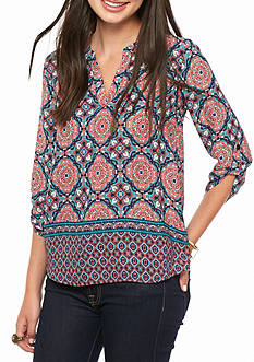 Pink Rose Three-Quarter Sleeve Printed Popover