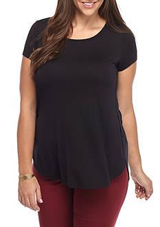 Pink Rose Scoop Neck Side Slit Shirt