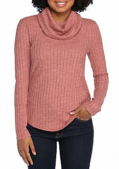 Pink Rose Rib Knit Cowl Neck Top