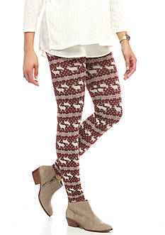 Pink Rose Fleece Lined Print Legging