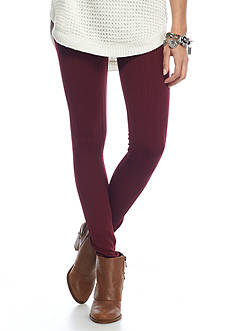Pink Rose Cable Fleece Lined Leggings