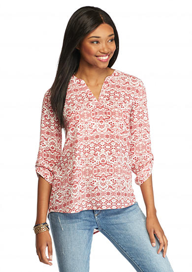 Pink Rose Printed Pop Over Blouse