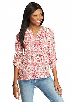 Pink Rose Printed Popover Blouse