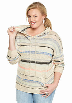 Pink Rose Plus Size Striped Soft Knit Hoodie