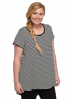 Pink Rose Plus Size Stripe Swing Tee