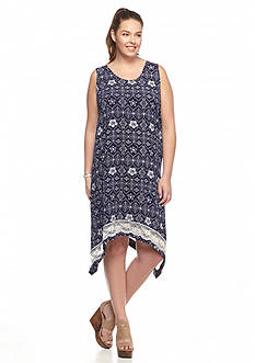 Pink Rose Plus Size Printed Shark-Bite Hem Dress
