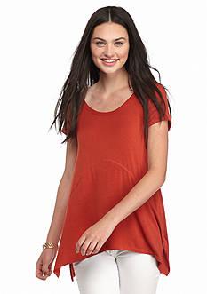 Pink Rose Short Sleeve Side Seam Slit Knit Top