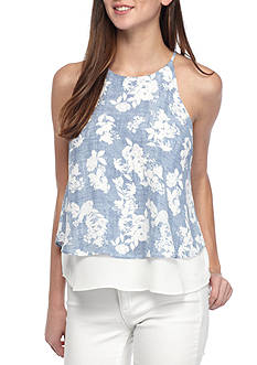 Pink Rose Double Ruffle Tank