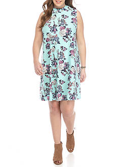 Pink Rose Plus Size Printed Mock Neck Dress