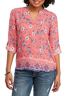 Pink Rose Printed Tab Sleeve V neck Blouse