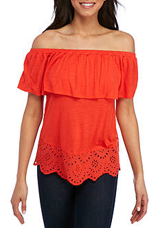 Pink Rose Off The shoulder Ruffle Eyelet Bottom Top