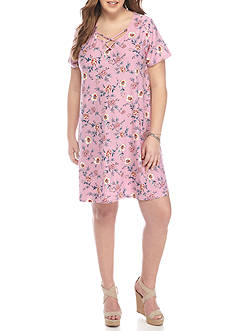 Pink Rose Plus Size Criss Cross Swing Dress