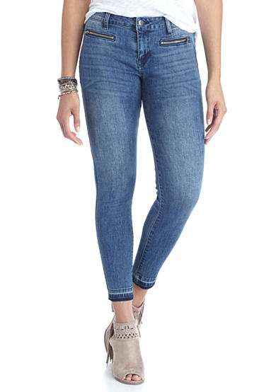 Celebrity Pink Zipper Released Hem Skinny Jeans