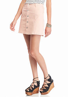 Celebrity Pink Button Front Blush Skirt