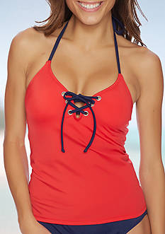 Nautica Topsail Lace Up Tankini Swim Top