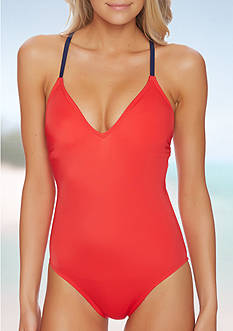 Nautica Red Lace Up One Piece Swimsuit