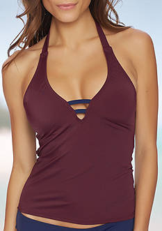 Nautica Solid Halterkini Swim Top
