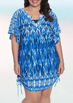 Dotti Plus Size Ikat Goddess Flutter Swim Cover Up