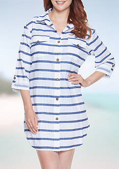 Dotti Tulum Stripe Shirt Dress Swim Cover Up