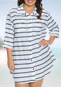 Dotti Plus Size Tulum Stripe Shirt Dress