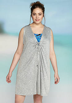 Dotti Plus Size Opposites Attract Shirred Dress