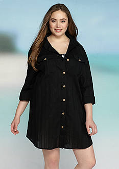 Dotti Plus Size Sanibel Island Shirt Dress
