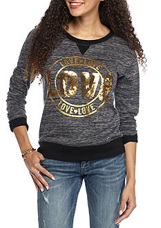 Inspired Hearts Long Sleeve Top with Sequin Applique