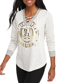 Inspired Hearts Lace Up Foil Screen Pullover