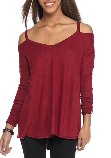 Inspired Hearts Cold Shoulder Brushed Hacci Pullover
