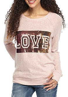 Inspired Hearts Brushed Hacci Love Sequins Sweatshirt