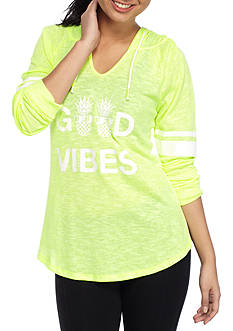 Inspired Hearts V Neck Good Vibes Hoodie