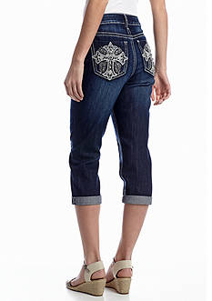 New Directions® Weekend Embellished Cross Jean Capri