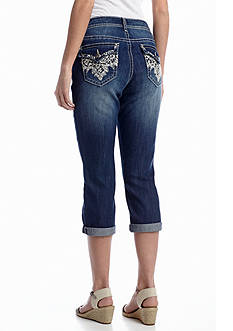 New Directions® Weekend Sequin Lace Pocket Jean Capri