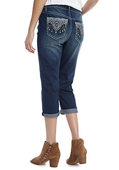 New Directions Weekend Embroidered Lace Studded Cropped Jeans