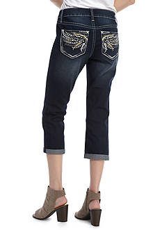 New Directions Weekend Cropped Bling Wing Jeans
