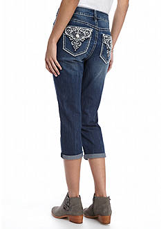 New Directions Weekend Cropped Bling Embroidered Jean
