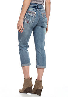 New Directions Weekend Deconstructed Peek-A-boo Color Stitch Jean Capri