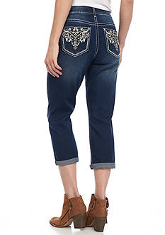 New Directions Weekend Embroidered Faux Leather Color Stitch Scroll Motif Jean Capri