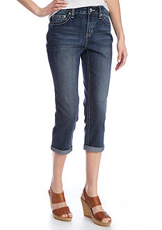 New Directions Weekend Embroidered Patch Cropped Jeans
