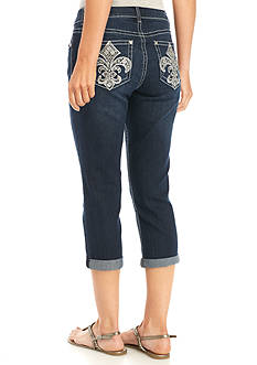 New Directions® Weekend Fleur De Lis Rhinestone Pocket Cropped Jean