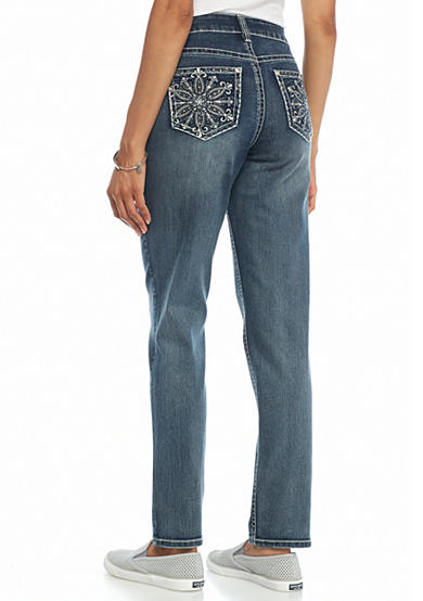 New Directions® Weekend Flower Medallion Straight Leg Jeans
