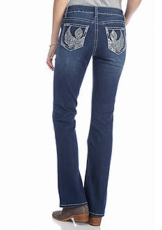 New Directions Weekend Embroidered Wing Bootcut Jeans