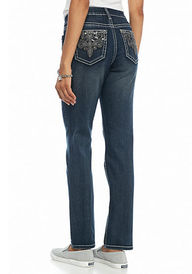 New Directions® Weekend Faux Leather Embroidered Jeans