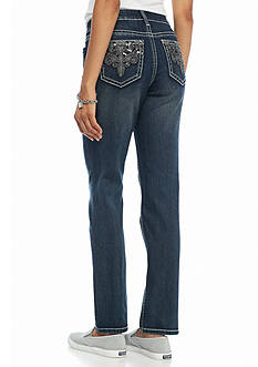 New Directions Weekend Faux Leather Embroidered Jeans