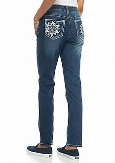 New Directions Weekend Star Medallion Straight Leg Jeans