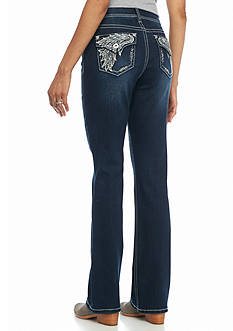 New Directions Weekend Embellished Wing Flap Bootcut Jeans