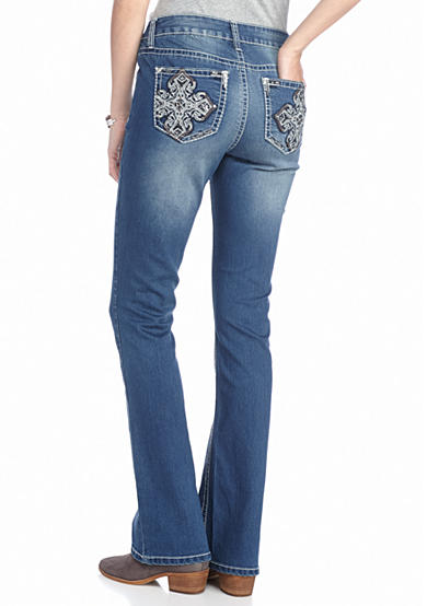 New Directions® Weekend Embroidered Cross Bootcut Jeans